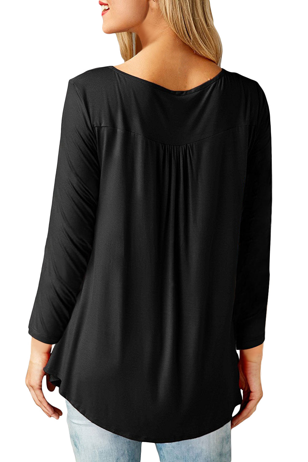 Black Long Sleeve Button up Pleated Tunic