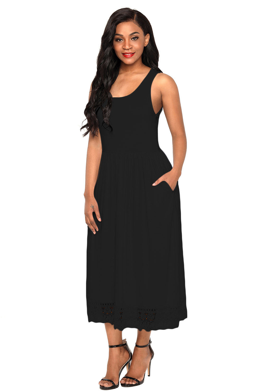 Black Bohemian Lace Hem Slip Dress