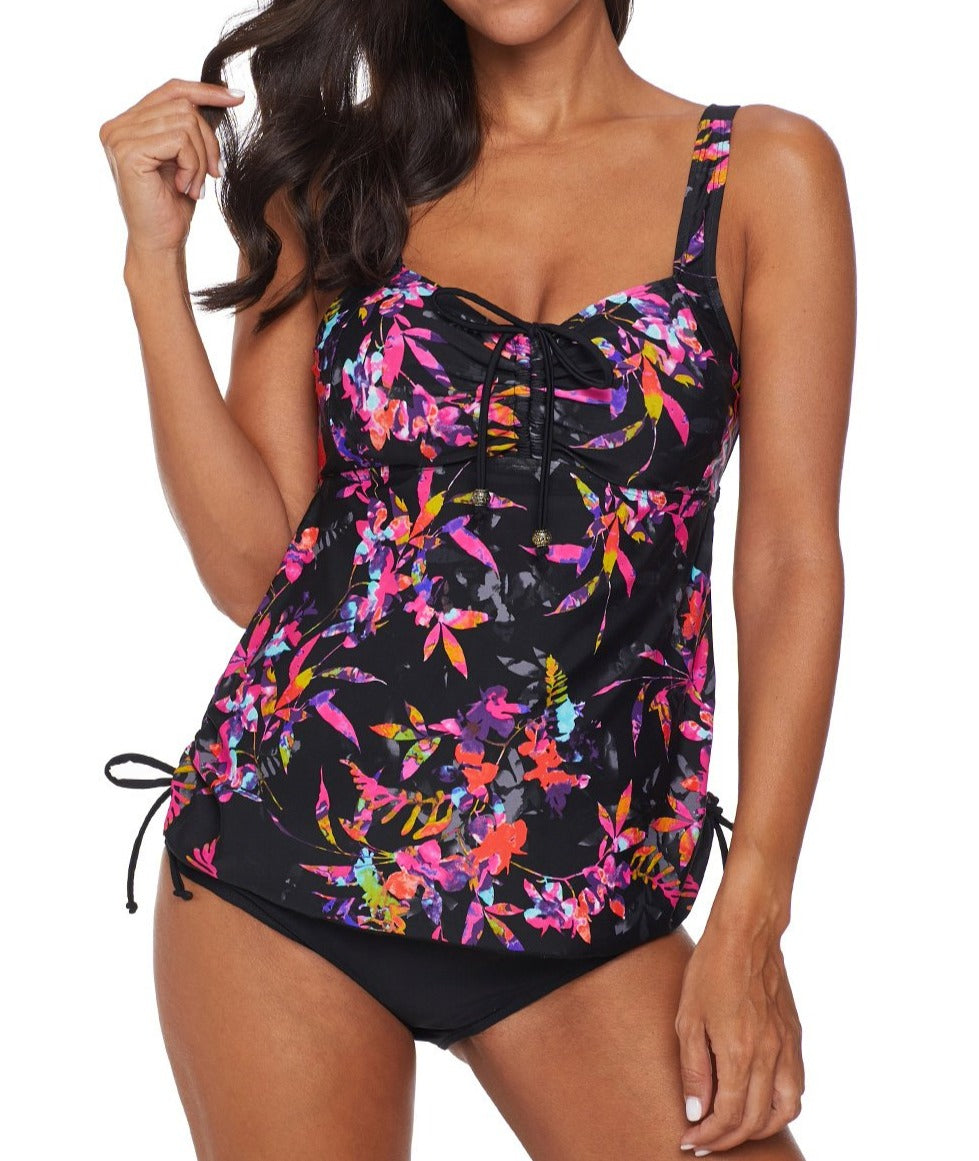 Black Floral Print Gather Ruched Tankini Set