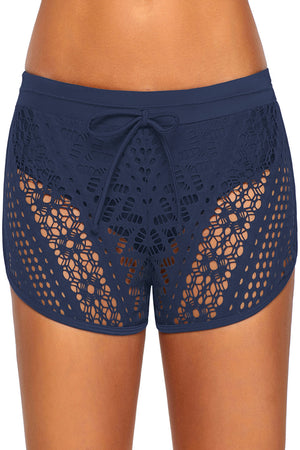 Blue Hollow Out Lace Overlay Swim Short Bottom