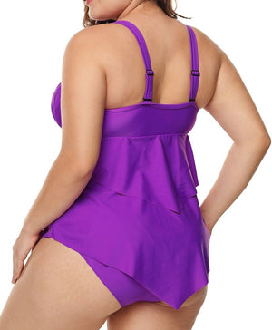 Purple Pleated Detail Plus Size Two Piece Swimsuit