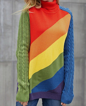 Asymmetric Cable Knit Sleeve Rainbow Striped Sweater