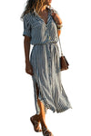 Black Striped Roll up Sleeve Button Down Maxi Shirt Dress