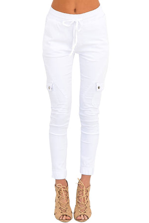 White Drawstring Ankle Pocket Denim Jeans