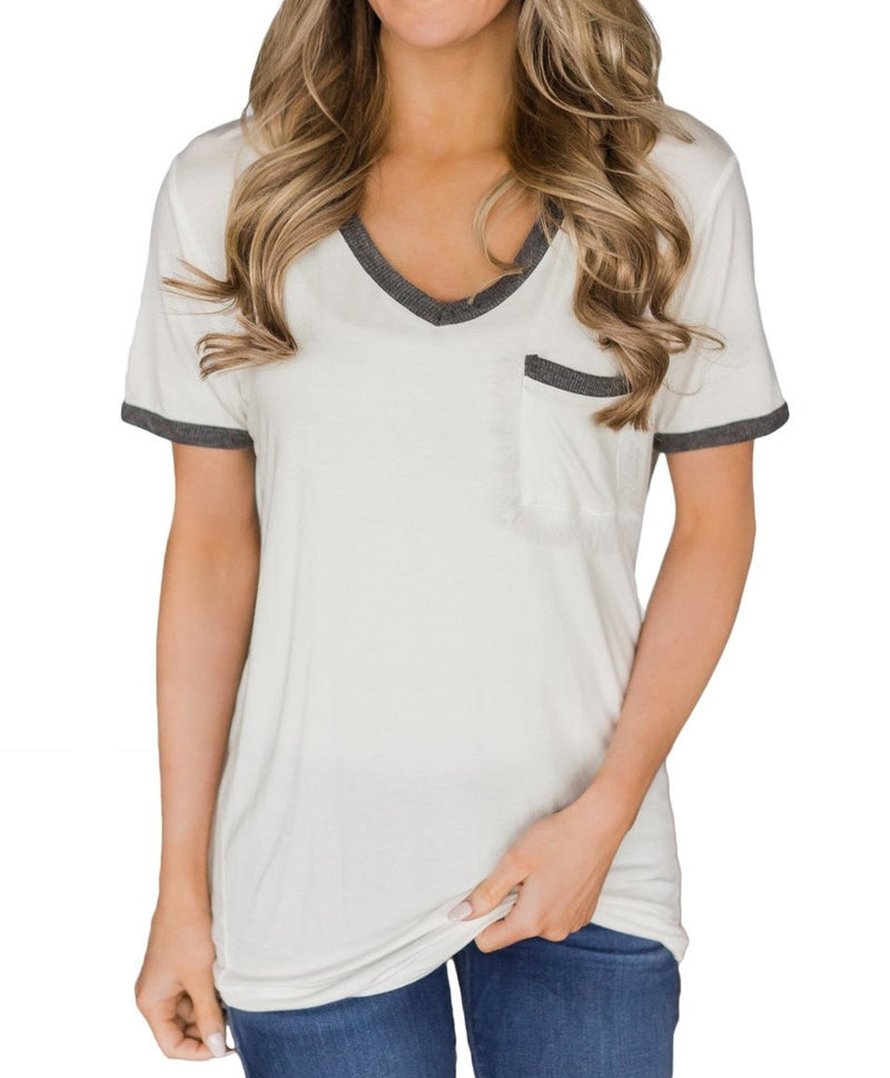 Gray Trimmed White V Neck Pocket Top