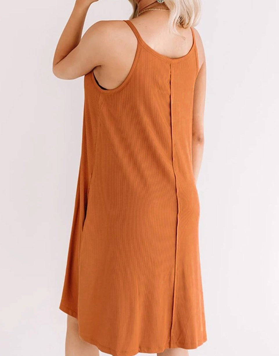 Camel Button up Sleeveless Shift Dress