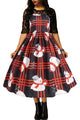Vintage Snowman Plaid Christmas Print Flared Dress