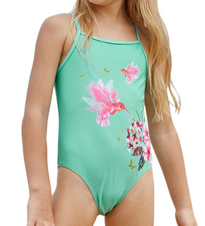 Mint Floral and Birds Little Girls One-piece Swimwear