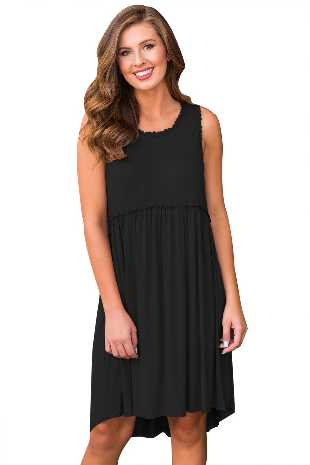 Black Tank Top Bodice Ruched Detail Swing Dress