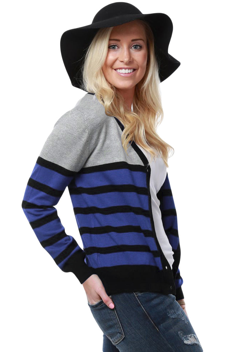 Black Striped Grey Blue Lightweight Knitted Cardigan