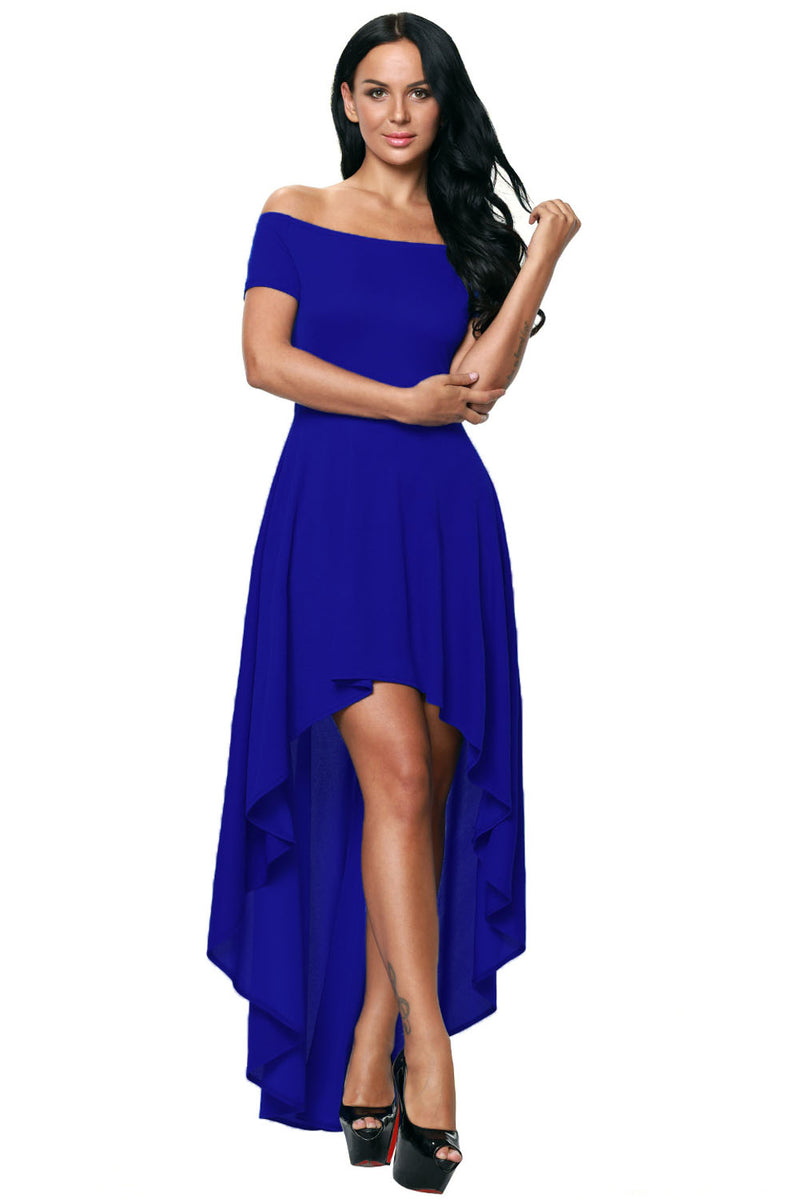Blue High Low Hem Off Shoulder Party Dress