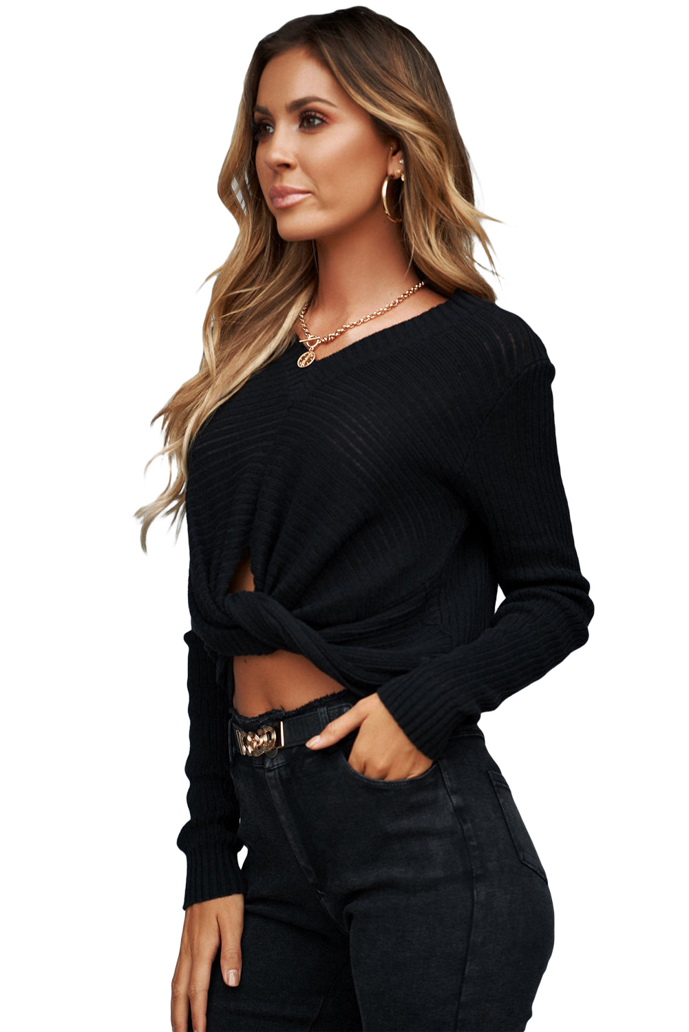 Chic Black V Neck Twisted Sweater