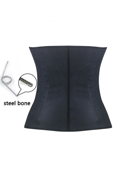 Black Steel Bone Latex Under Bust Corset
