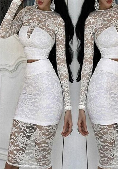 White Lace Overlay Long-sleeve Skirt Set