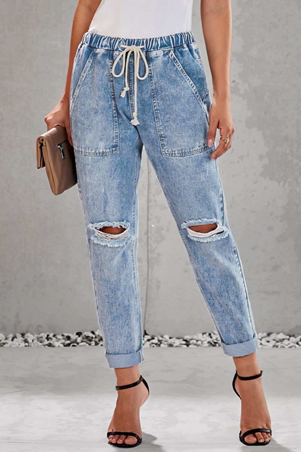 Sky Blue Gather Round Distressed Pocketed Denim Jogger