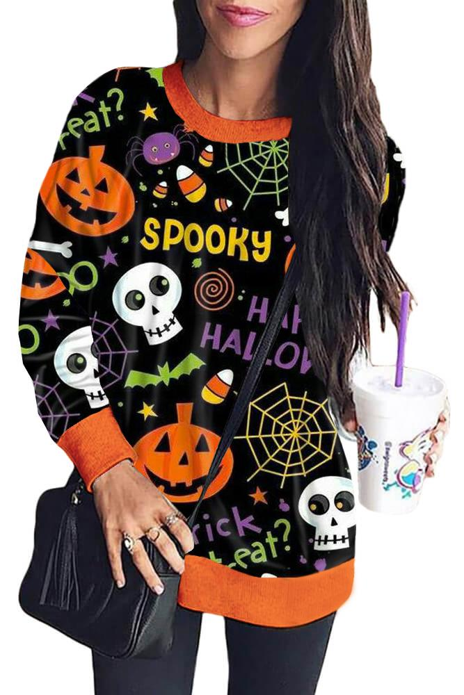 Black Halloween Element Print Sweatshirt