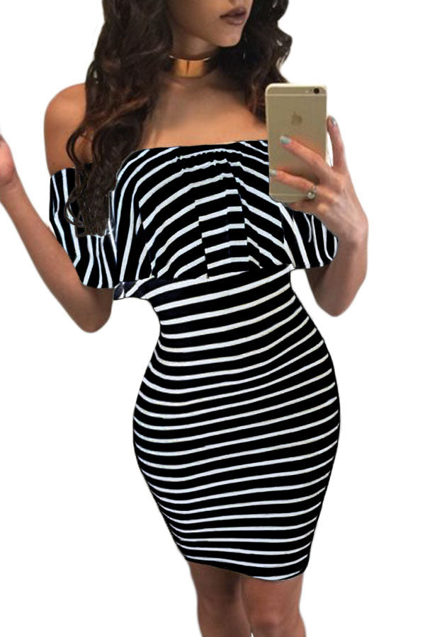 White Black Striped Off-shoulder Bodycon Dress