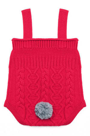 Red Cable Knit Bunny Tail Baby Romper