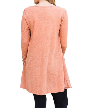 Orange Swingy Layered Long Sleeve Tunic