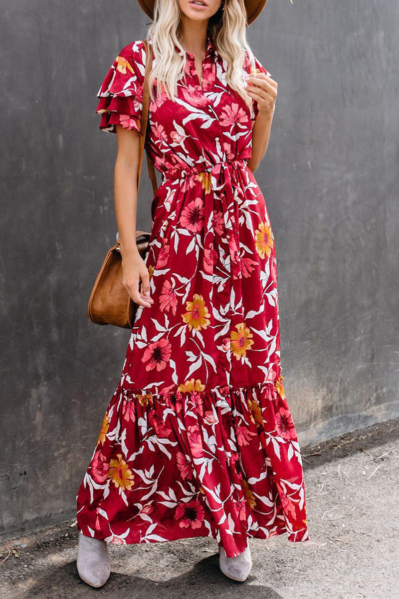 Burgundy Floral Button Maxi Dress