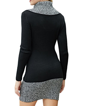 Black Gray Button Front Sweater Dress