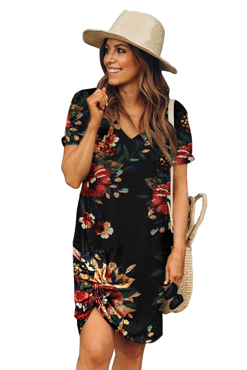 Black Floral Print Short Sleeve Side Knot T-shirt Dress