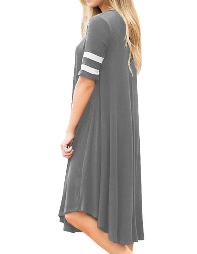 Striped Half Sleeves O Neck Flowy Jersey Dress in Gray