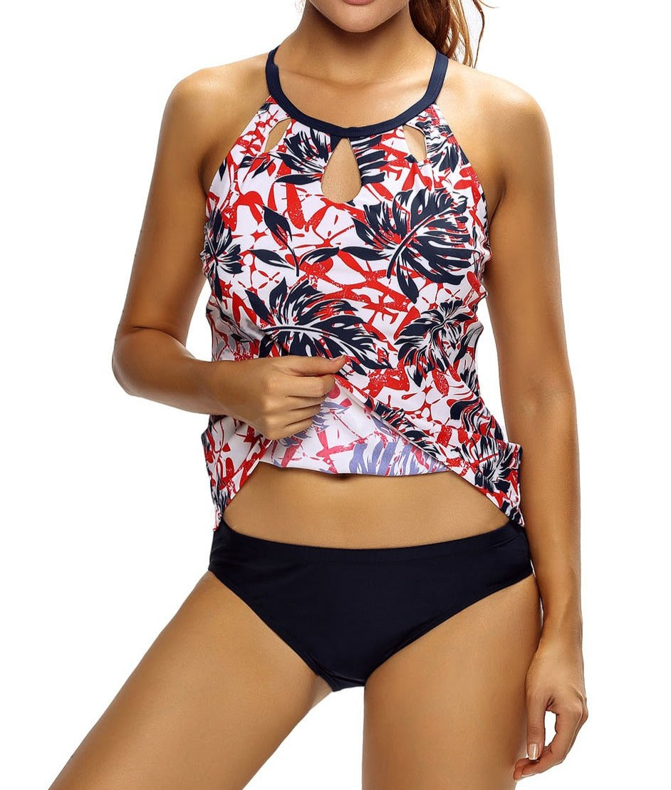 Reddish Leaf Print Cutout High Neck Swim Top