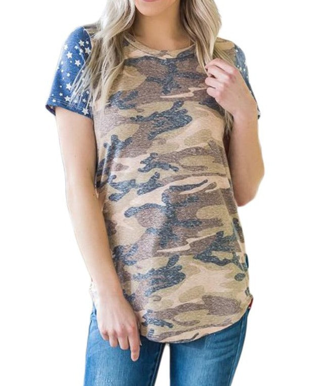 Short Sleeve Camo Flag Tee