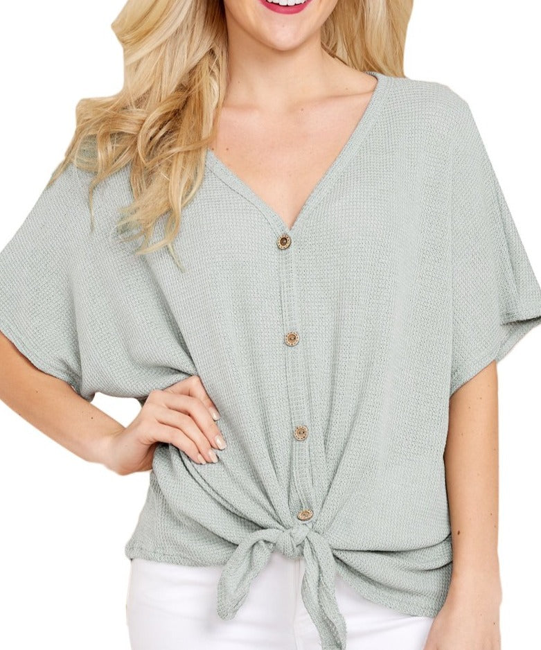 Green Dolman Buttoned Front Top with Tie