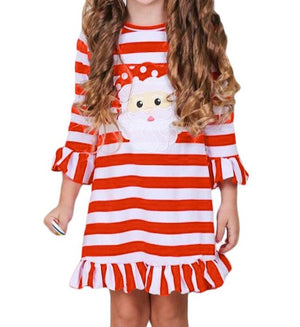 Girls Red Striped Santa Applique Ruffled Christmas Dress