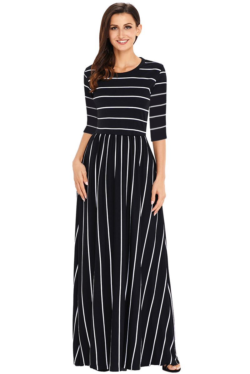 Black White Striped Casual Pocket Style Maxi Dress