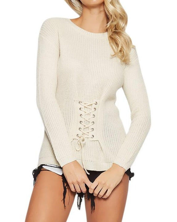 White Corset Knit Sweater