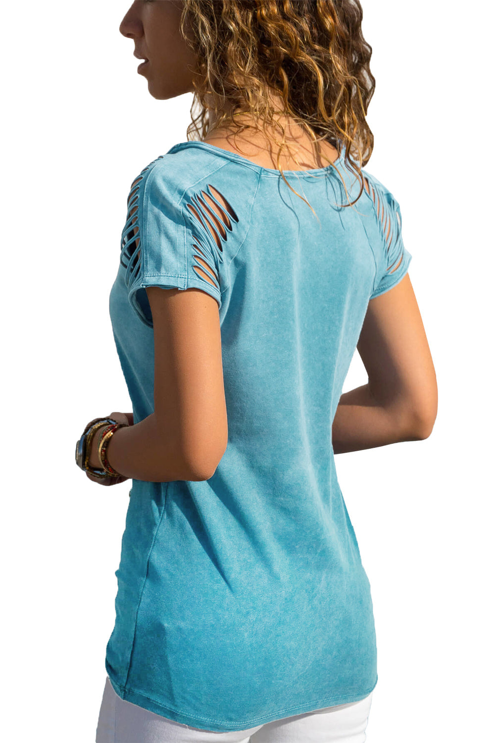 Blue Ripped Hollow Out Shoulder Tie Dye T-Shirt Top