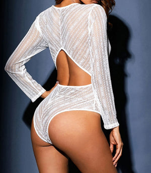 White Deep V Neck Long Sleeve Bodysuit with Open Back