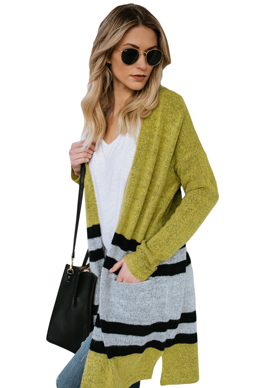 Yellow Contrast Full Sleeve Open Cardigan with Pocket
