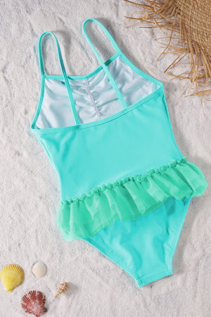 Blue Ruffles One Piece Swimsuit for Girls