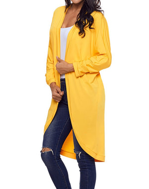 Yellow Casual Relaxed Fit Long Cardigan