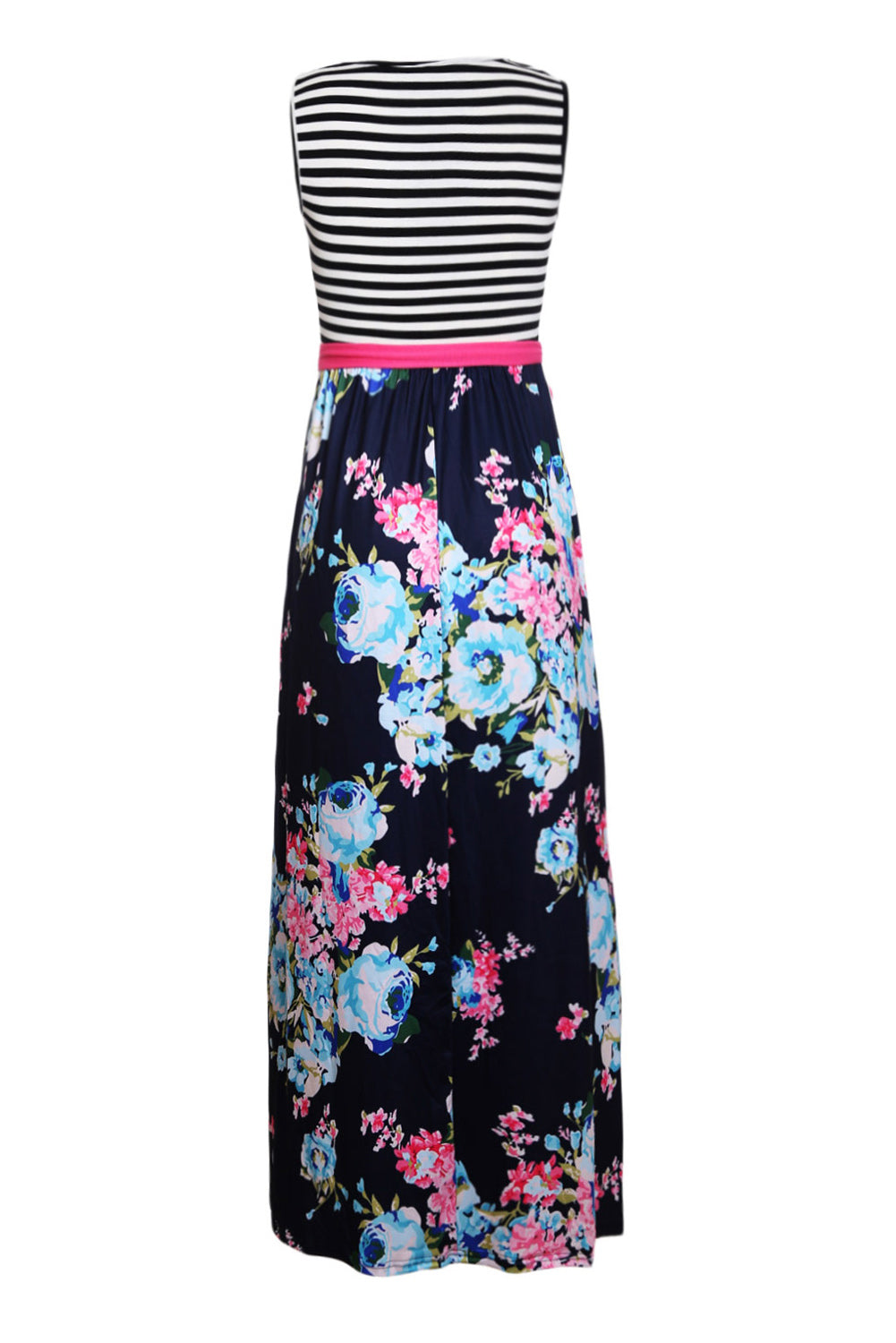 Blue Pink Floral Striped Sleeveless Boho Dress