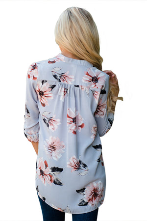 Grey Floral Print High Low Chiffon Blouse
