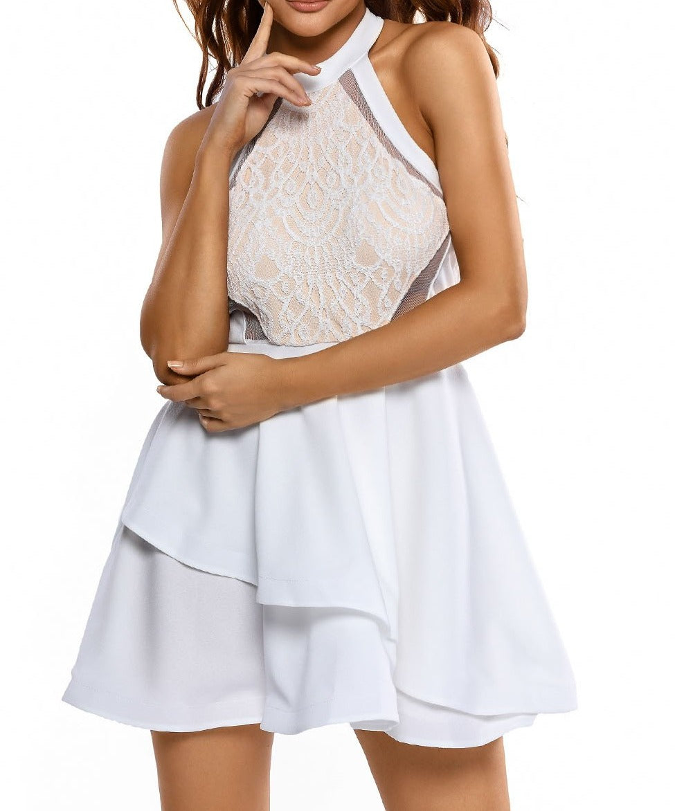 White Lace Nude Irregular Layered Skater Dress