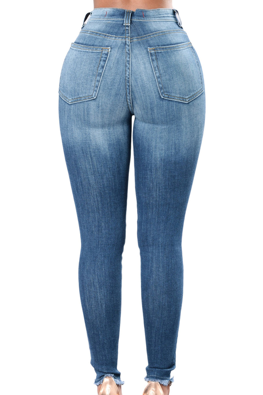 Rose Embroidered Knee Distress Blue Skinny Jeans