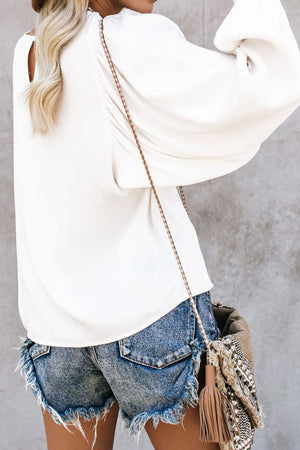 White Billowy Bell Sleeve Relaxed Fit Pullover Top