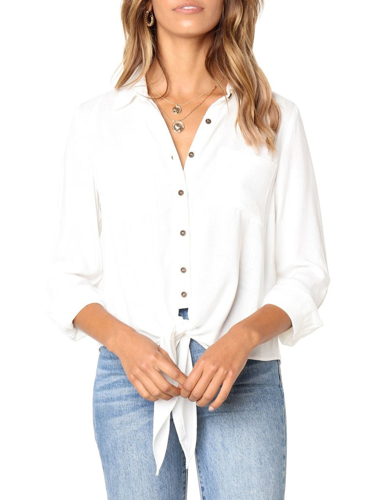 White Crushed Linen Button-Down Casual Shirt