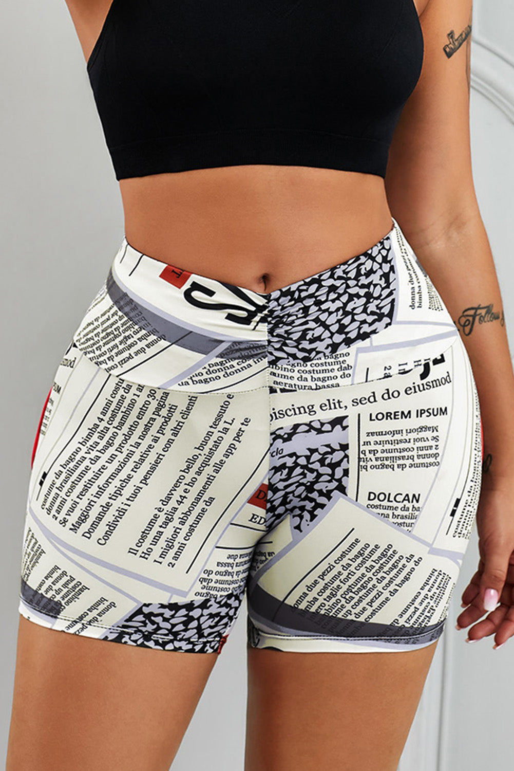 Yellow Printed High Waist Lift Up Yoga Shorts