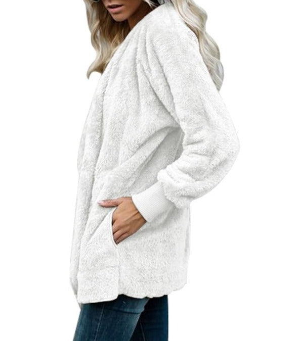 Off White Soft Fleece Hooded Open Front Coat