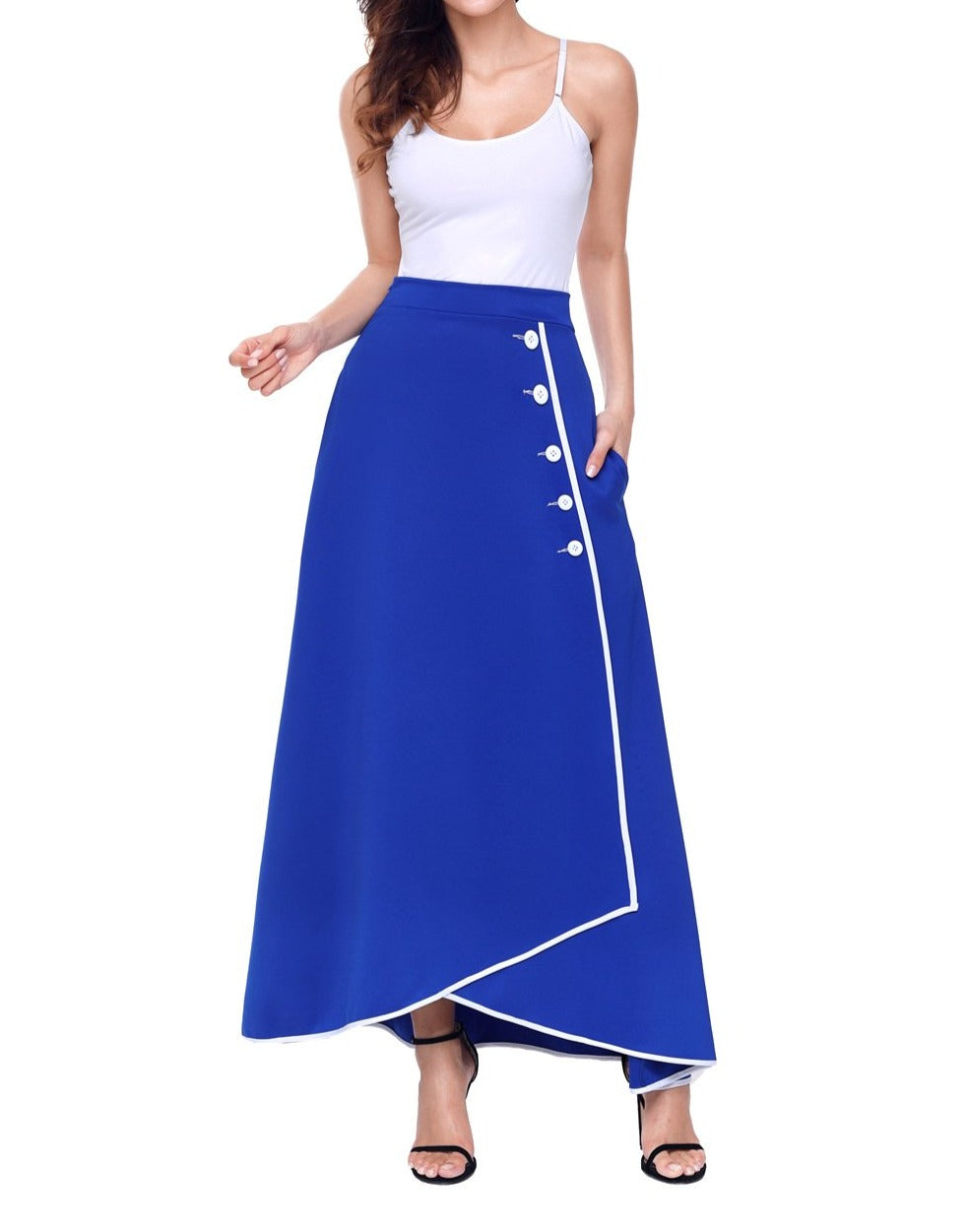 Royal Blue Piped Button Embellished High Waist Maxi Skirt