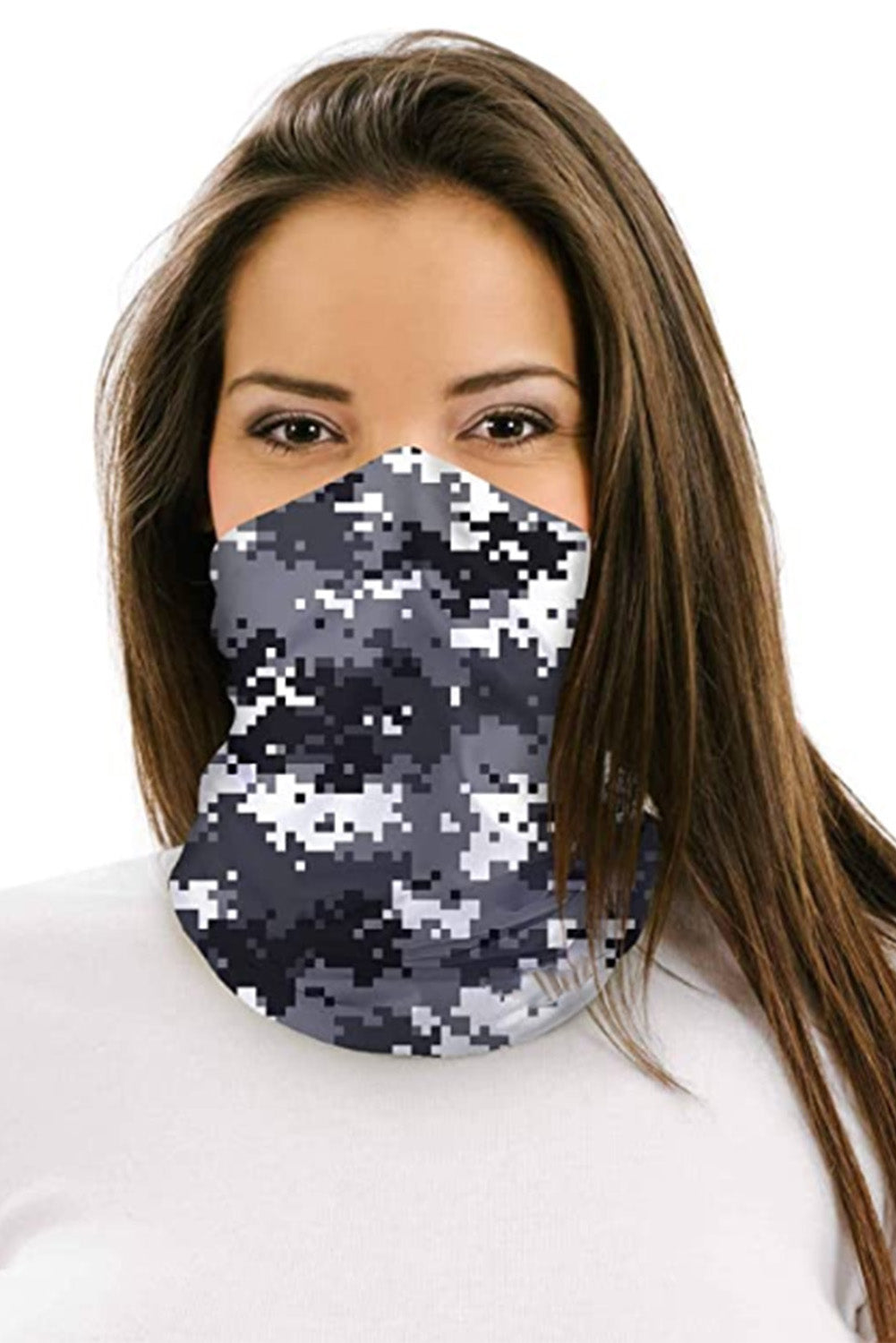 Gray Digital Camo Print Multifunctional Headwear Face Mask Headband Neck Gaiter