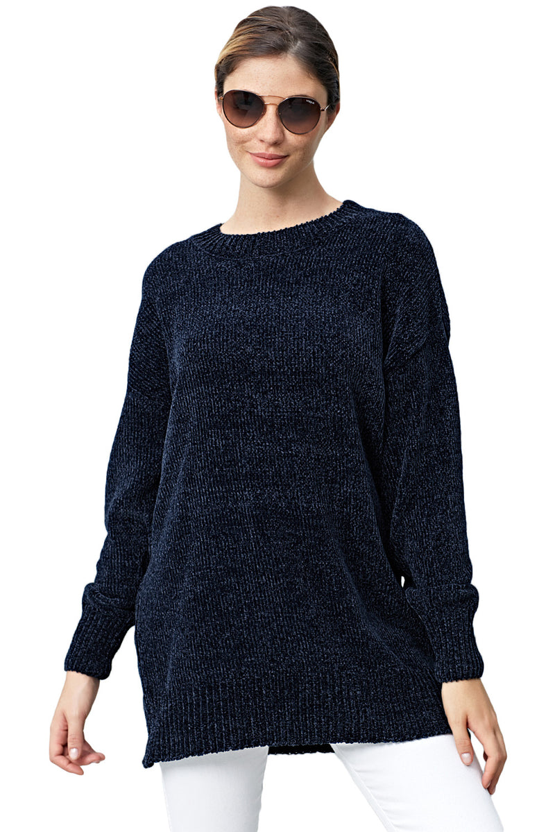 Navy Blue Cozy Scoop Neck Velvet Sweater