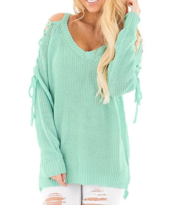 Mint Lace up Shoulder Loose Fit Sweater Top